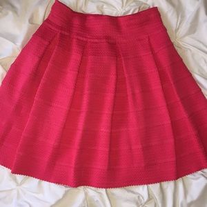 Sugar And Lips Hot Pink Pleated Tiered Skirt Sz M